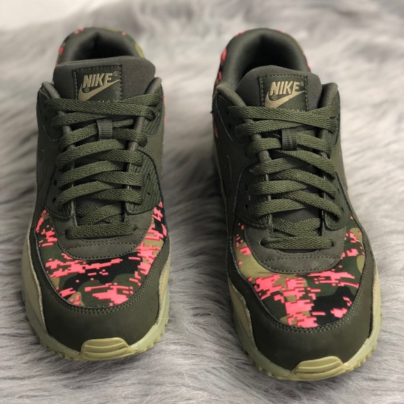 Nike Air Max 90 Men's Leather Digi Camo Olive 10.5